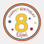Primary Colors Happy Birthday Number 8 Sticker
