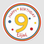 Primary Colors Happy Birthday Number 9 Round Sticker