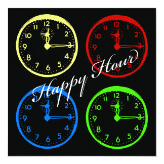 Primary Colors Happy Hour Clock Party Invitations