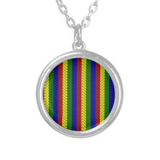 Primary Colors Herringbone Silver Plated Necklace