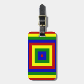 Primary Colors Layered Squares Luggage Tag