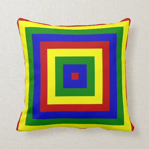 Primary Colors Layered Squares-Sq Throw Pillow Zazzle