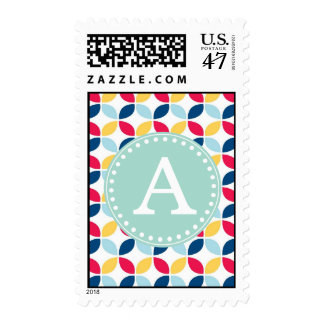 Primary Colors Monogram initial party Stamp