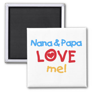 Primary Colors Nana and Papa Love Me 2 Inch Square Magnet