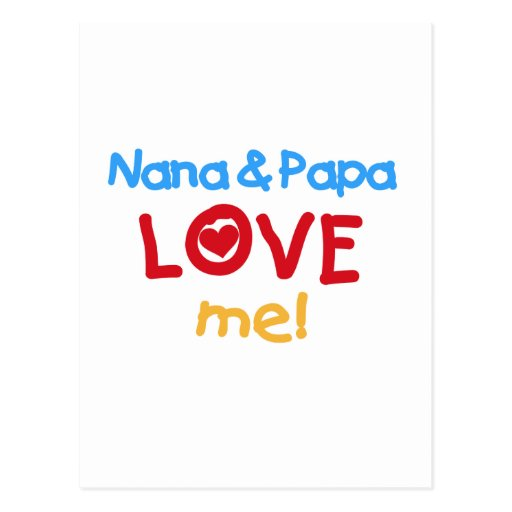 Primary Colors Nana and Papa Love Me Postcards