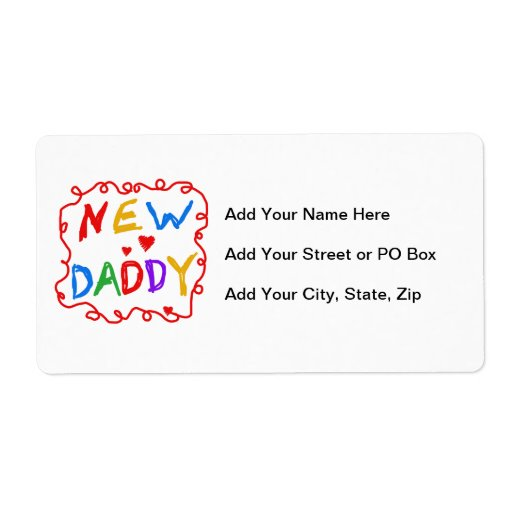 Primary Colors New Daddy Gifts Shipping Label