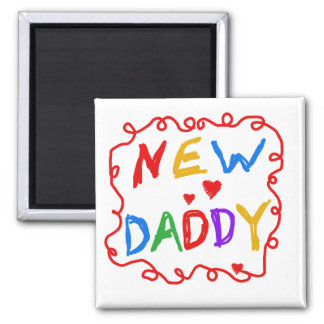 Primary Colors New Daddy Tshirts and Gifts 2 Inch Square Magnet