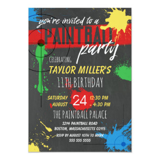 Primary Colors Paint Splash Paintball Party Card