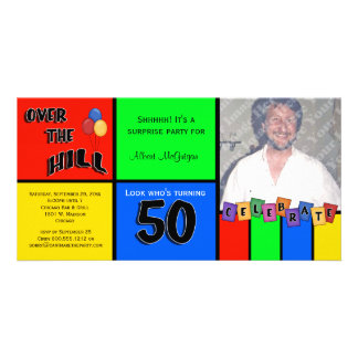Primary Colors Photo Surprise 50th Birthday Party Card