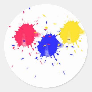 Primary Colors Splash Classic Round Sticker