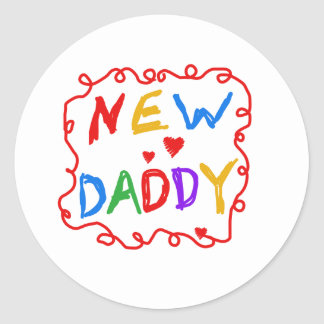 Primary Colors Text New Daddy Classic Round Sticker