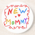 Primary Colors Text New Mommy Gifts Beverage Coaster