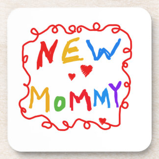 Primary Colors Text New Mommy Gifts Drink Coaster
