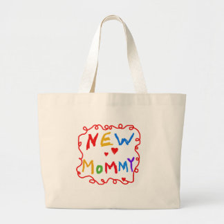 Primary Colors Text New Mommy   Large Tote Bag