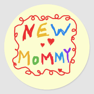 Primary Colors Text New Mommy  Tshirts Classic Round Sticker