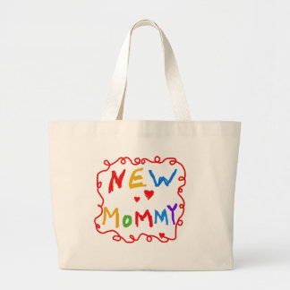 Primary Colors Text New Mommy  Tshirts Large Tote Bag