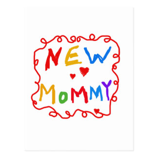 Primary Colors Text New Mommy  Tshirts Postcard