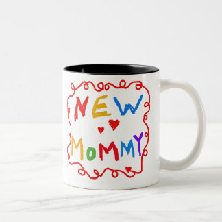 Primary Colors Text New Mommy   Two-Tone Coffee Mug