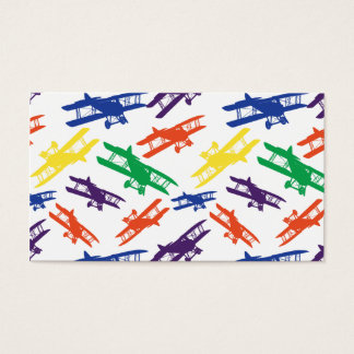 Primary Colors Vintage Biplane Airplane Pattern Business Card