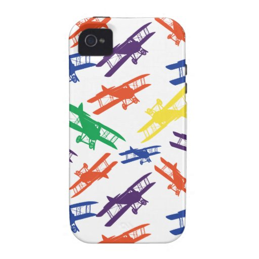 Primary Colors Vintage Biplane Airplane Pattern Case-Mate iPhone 4 Cover