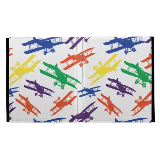 Primary Colors Vintage Biplane Airplane Pattern iPad Case