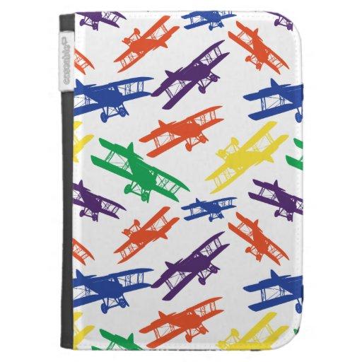 Primary Colors Vintage Biplane Airplane Pattern Kindle Case