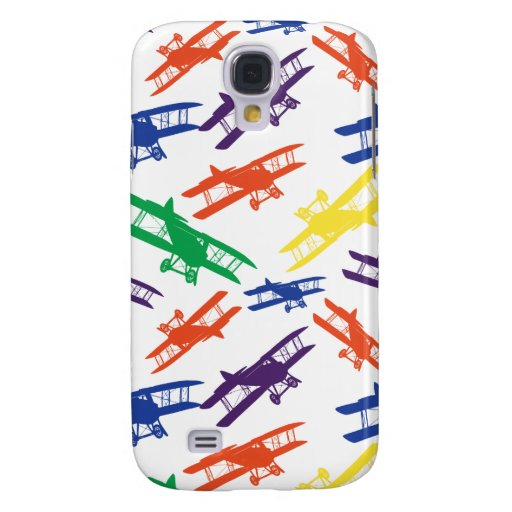 Primary Colors Vintage Biplane Airplane Pattern Samsung Galaxy S4 Cases