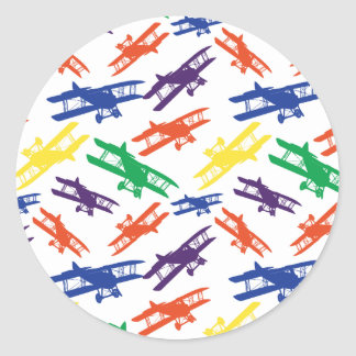 Primary Colors Vintage Biplane Airplane Pattern Classic Round Sticker
