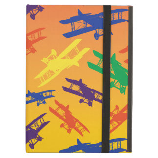 Primary Colors Vintage Biplane Airplane Pattern Cover For iPad Air