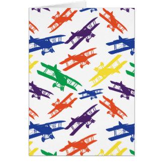Primary Colors Vintage Biplane Airplane Pattern Greeting Card