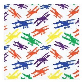 Primary Colors Vintage Biplane Airplane Pattern Invitation