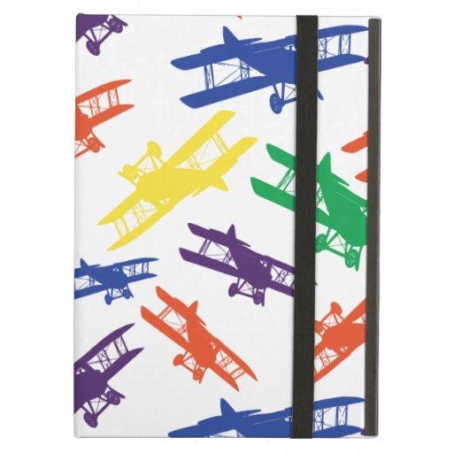 Primary Colors Vintage Biplane Airplane Pattern iPad Covers
