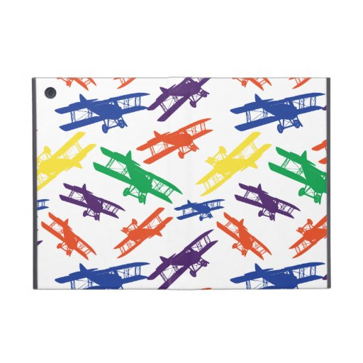 Primary Colors Vintage Biplane Airplane Pattern iPad Mini Cases