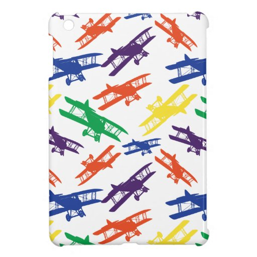 Primary Colors Vintage Biplane Airplane Pattern Case For The iPad Mini
