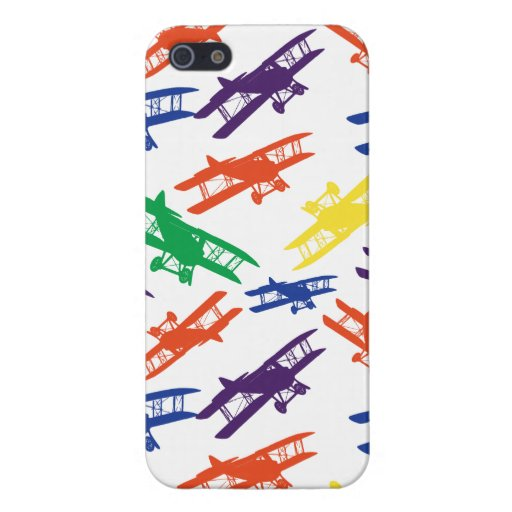 Primary Colors Vintage Biplane Airplane Pattern iPhone 5 Cover