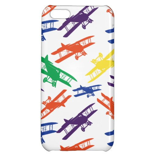 Primary Colors Vintage Biplane Airplane Pattern iPhone 5C Case