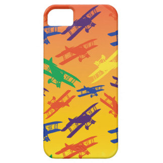 Primary Colors Vintage Biplane Airplane Pattern iPhone SE/5/5s Case
