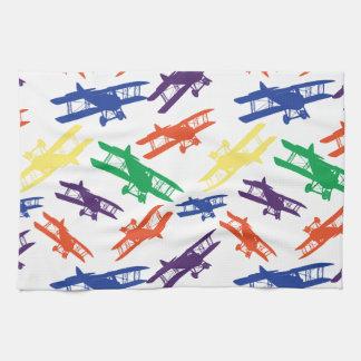 Primary Colors Vintage Biplane Airplane Pattern Kitchen Towel