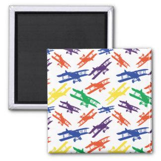 Primary Colors Vintage Biplane Airplane Pattern Magnet