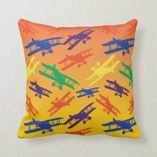 Primary Colors Vintage Biplane Airplane Pattern Throw Pillow Zazzle