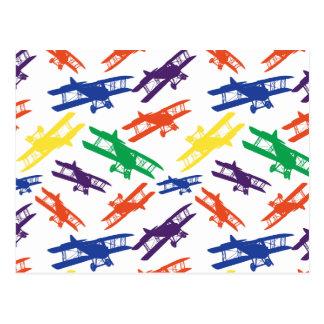 Primary Colors Vintage Biplane Airplane Pattern Postcard