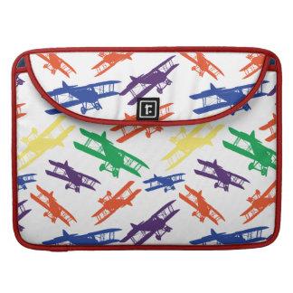 Primary Colors Vintage Biplane Airplane Pattern Sleeve For MacBook Pro