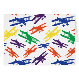 Primary Colors Vintage Biplane Airplane Pattern Stationery Note Card
