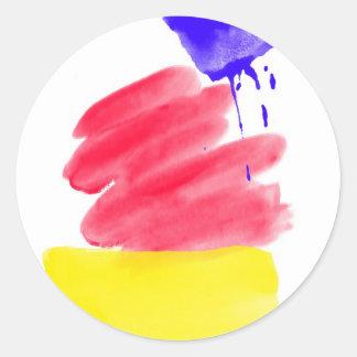 Primary Colors Watercolor Classic Round Sticker