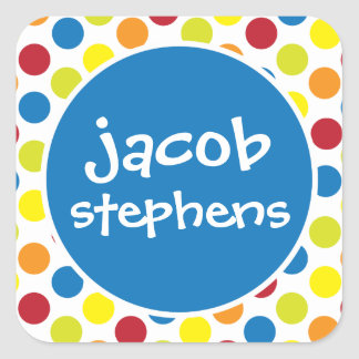 Primary Polka Dots Personalized Stickers