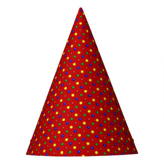 Primary Polka Dots-Red-PAPER PARTY HATS