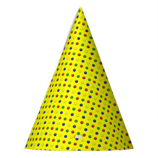 Primary Polka Dots-Yellow-PAPER PARTY HATS