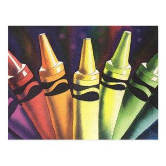 """""""Primary Reasoning"""" Watercolor Crayon Art Postcard"""