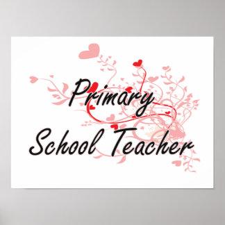 Primary School Teacher Artistic Job Design with He Poster