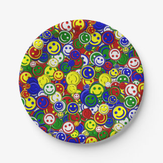 Primary Smiley Face Beads,RED-PAPER PLATES